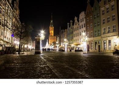 Gdańsk, Pomorskie/Poland - December 15 2017: Długa Street at night lights on, tenements