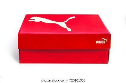 Pomos, Cyprus - September 04, 2017: A shoe box featuring on an isolated background.. Puma, a major German multinational company. Isolated on white. Product shots