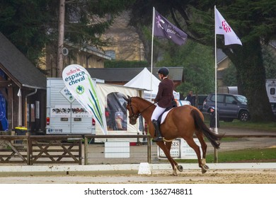 Pompadour, France 6 april 2019, First contest of the season, the spring dressage is an opportunity for riders to take stock of winter work and launch the competition season.