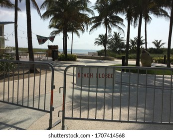 Pompano Beach, Florida / USA - April 18, 2020. Though signs say closed, Florida is poised to open beaches while much of the country continues to self isolate against the corona virus, Covid-19.