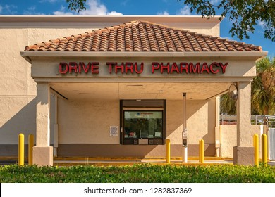 Pompano Beach, Florida, USA - January 06, 2019 : Walgreens store exterior and drive thru window. Walgreens is the largest drug retailing chain in the United States.