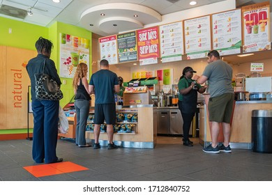 Pompano Beach, Florida, USA - January 07, 2019: Inside of Jamba Juice store when people wait to buy juice or smoothies.