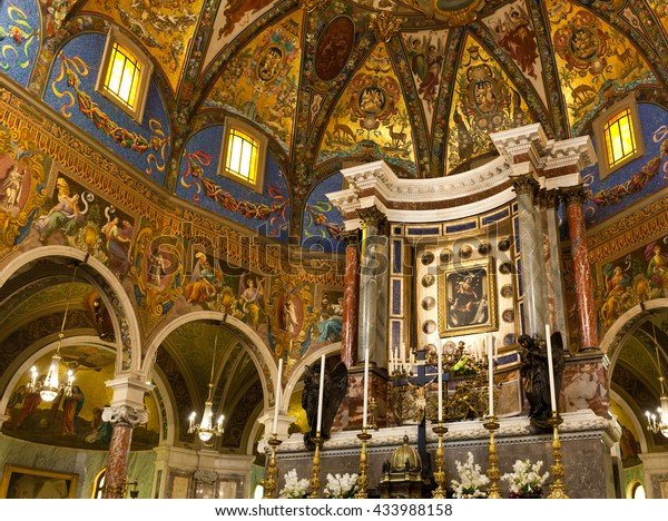 Pompei, Italy - 24 May 2016: Interior of the Shrine of the Virgin of the Rosary of Pompeii during the month of Mary.