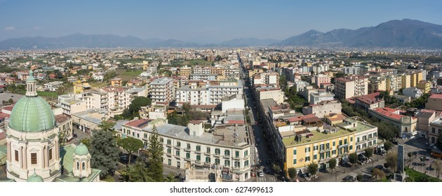 Pompei, Italy. March 31, 2017. Landscape to the city from the top of the clock tower of the Shrine of Our Lady of the Rosary of Pompeii