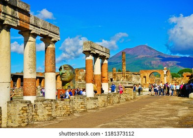 Pompei, Italy - September 19, 2016 : View of the roman ruins destroyed by the eruption of Mount Vesuvius centuries ago at Pompeii Archaeological Park in Pompei on September 19, 2016.