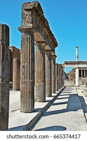 AT POMPEI - ON 06/22/ 2017 - Ruins of  ancient roman town of Pompeii, destroyed by vesuvius eruption in 70 d.c.