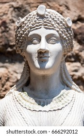 AT POMPEI - ON 06/22/ 2017 -  Statue representing Iside in the ancient roman town of Pompeii, destroyed by vesuvius eruption in 70 d.c.