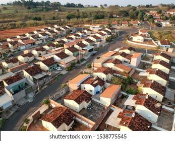 Pompeia, Sao Paulo, Brazil, August 13, 2019. Aerial view of construction site of standardized houses of the Minha Casa Minha Vida Program, in Pompeia city, of the Sao Paulo State, Brazil