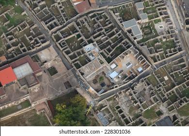 Pompeii, aerial view, naples, archeologic ruins of Pompeii in Italy