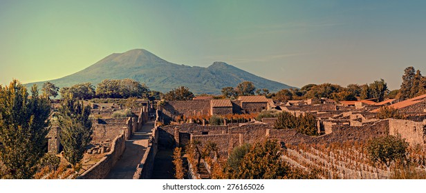 Pompeii was destroyed, and completely buried, during a long catastrophic eruption of the volcano Mount Vesuvius spanning two days in AD 79.
