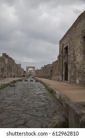 Pompeii, Italy - 3 JANUARY 2012: Street in Pompeii, Italy. Pompeii is an ancient Roman city died from the eruption of Mount Vesuvius in the 1st century.