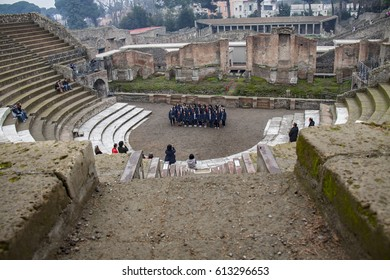 Pompeii, Italy - 3 JANUARY 2012: View of Pompeii,  Amphitheatre.  Pompeii is an ancient Roman city died from the eruption of Mount Vesuvius in the 1st century.