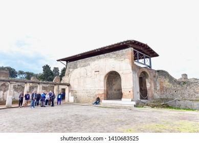 Pompeii, Italy - APRIL 14, 2019: Ancient Buildings at the Archaeological Site of Pompeii