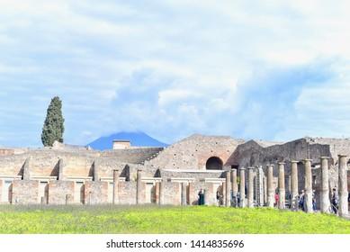 Pompeii, Italy - APRIL 14, 2019: Ruins of Pompeii City and Mt. Vesuvius