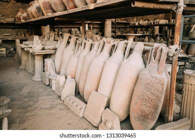 Pompeii, Italy. Artifacts In Granary Of Pompeii Forum.