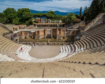 POMPEII, ITALY - JULY 16, 2016: The Teatro Grande (Big Theater) in Pompeii, the ancient Roman city, destroyed in 79 BC by the eruption of Mount Vesuvius, Naples, Italy. UNESCO World Heritage Site.