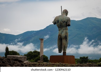 Pompeii, Italy - June 14, 2018: The statue of  Daedalus is on display at the ancient ruins of Pompeii.