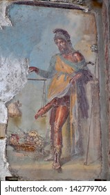 POMPEII, ITALY - MAY 26:  Ancient roman fresco of the roman god of fertility and lust Priapus : May  26, 2013 in Pompeii, Italy