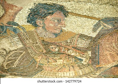 POMPEII, ITALY - MAY 26:  Ancient roman mosaic of Alexander the Great in battle against Darius : May  26, 2013 in Pompeii, Italy