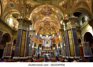 POMPEII, ITALY, SEPTEMBER 10 inside the sanctuary Blessed Virgin of the Rosary Sep 10 2020 Pompeii Italy