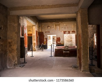 Pompeii Naples Italy 6th April 2018 Villa in the once buried Roman city of Pompeii south of Naples under the shadow of Mount Vesuvius which erupted in 79AD and covered the city with ash and pumice