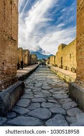 Pompeii Street, Naples, italy. This is a strett of Pompeii excavations after Vesuvius eruption.