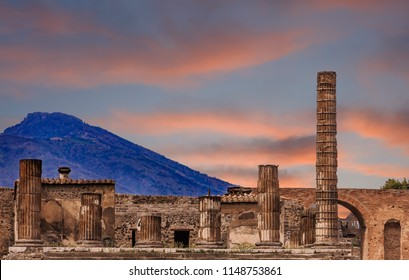 Pompeii and Vesuvius at Dusk