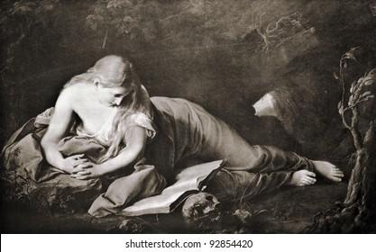 "Pompeo Girolamo Batoni ""St. Mary Magdalene"" (1742). Reproduction from illustrated Encyclopedia ""Treasures of art"", Partnership «Prosvesheniye», St. Petersburg , Russia , 1906"