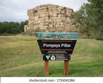 Pompeys Pillar, MT/USA - August 30, 2019: Pompeys Pillar, a sandstone formation, on the Lewis and Clark Trail in Montana.