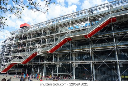 Pompidou Centre, Paris France in the Sunny Day