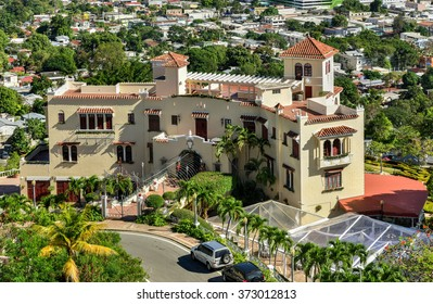 Ponce, Puerto Rico - December 27, 2015: Castillo Serralles (Serralles Castle) is a mansion located in the city of Ponce, Puerto Rico, overlooking the downtown area (Ponce Pueblo).