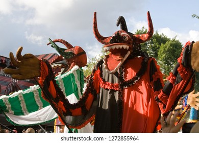 Ponce, Puerto Rico - February 19, 2012: The 2012 Ponce Carnival Parade costumes are spectacular.