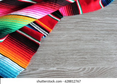 poncho serape background Mexican cinco de mayo fiesta wooden copy space stripe pattern minimal simple