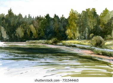 Pond in Abramtsevo. Summer landscape with lake, trees and green grass. Forest loch