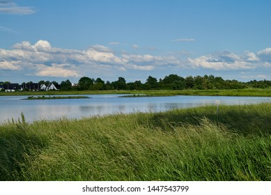 """pond of the biotope """"Kleioütte"""" in Brake (Unterweser), district Wesermarsch (Germany) with vivid blue sky and white clouds behind fresh greenery"""