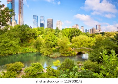 The Pond at Central Park with Manhattan skyline, New York