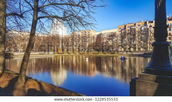 Pond in downtown of Moscow