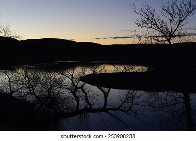 Pond at dusk - the dark exposure is intentional