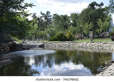 pond with a fountain in a public park