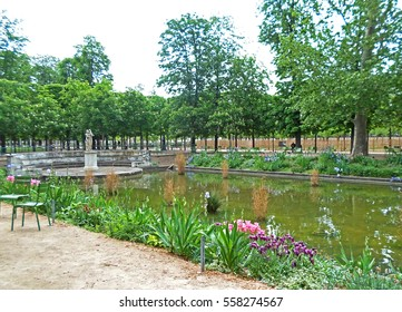 Pond in the garden of the Tuileries in Paris, Spring in France