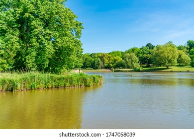 A pond in Hampstead Heath park in north-west London. UK