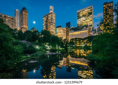 The Pond and Midtown Manhattan skyline at night, in New York City