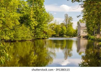 Pond near Montreuil-Bellay castle, France