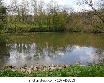 Pond near Wuppertal Germany  with stony banks, grass in the foreground, very early spring, the trees still leafless, in the background of the picture trees, fences ,a meadow. Reflections in the water