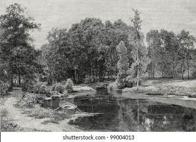 """A pond in the old park. Engraving by Shishkin from picture by Rashevsky. Published in magazine """"Niva"""", publishing house A.F. Marx, St. Petersburg, Russia, 1899"""