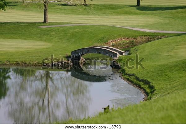 pond on golf green