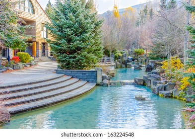 A pond over beautiful outdoor landscape