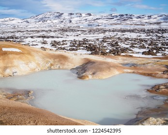 Pond of sulfur springs at Leirhnjúkur, near the Krafla Vulcano, Iceland