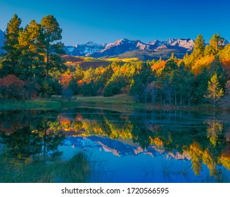 A pond surrounded by fall color reflects the trees and the Sneffels Range mountains in Ridgway, Colorado, USA. This is in the San Juan Mountains.