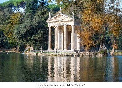 pond and Temple of Aesculapius, Borghese gardens, public park, favorite vacation spot of the romans and visitors of Rome, Italy
